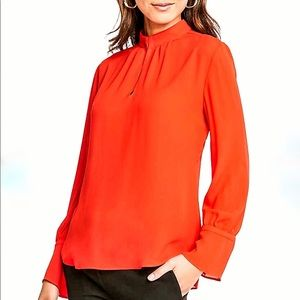 Ann Taylor Key Hole red blouse; size XS NWT